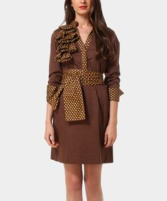 Look at this Brown Geraldine Dress on #zulily today!