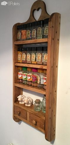 2-drawer Pallet Spice Rack Pallet Shelves & Pallet Coat Hangers