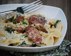 Quick Dinner: Pasta with Smoked Sausage & Spinach
