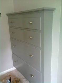 Built in dresser gets an update with paint. this effing rox! Great idea for when we tear down the walls in my upstairs converted attic craft room and rebuild