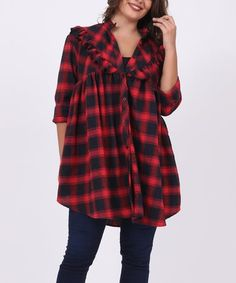 Love this Red Plaid Ruffle-Accent Button-Up Tunic - Plus Too on #zulily! #zulilyfinds