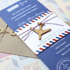 Modern White Ink Air Mail Wedding Invite