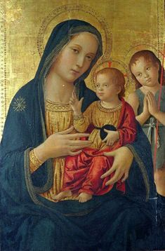 Antoniazzo Romano ~ Virgin and Child with Saint John the Baptist ~ Antoniazzo Romano, born Antonio di Benedetto Aquilo degli Aquili was an Italian Early Renaissance painter, the leading figure of the Roman school during the century. Renaissance Kunst, Renaissance Paintings, Religious Paintings, Religious Art, Religion, Images Of Mary, Christian Artwork, Sainte Marie, Mary And Jesus