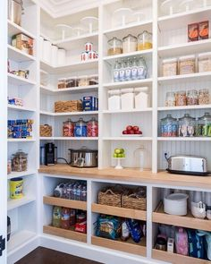 17 Awesome Pantry Shelving Ideas to Make Your Pantry More Organized Pantries are practical additions to any home. From simple solutions to elaborate showcases, here are great custom pantry shelving ideas. Pantry Organisation, Home Organization, Organized Pantry, Open Pantry, Walk In Pantry, Refrigerator Organization, Small Pantry Closet, White Pantry, Kitchen Pantry Design