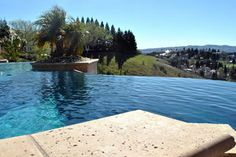 One of the local pools we've worked on here in Northern California's Bay Area -- lovely infinity pool! We wouldn't mind this view at all! Swimming Pool Repair, Swimming Pools, Aqua Pools, Northern California, Bay Area, The Locals, Infinity, Gallery, Outdoor Decor