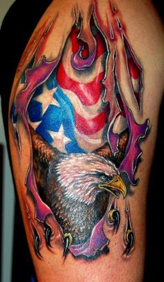 American Eagle Tattoos pictures and designs. Free high quality photographs, flash and image designs in our American Eagle Tattoos Gallery. Celtic Tattoos and Tribal Tattoos shown also. Patriotische Tattoos, Feather Tattoos, Trendy Tattoos, Body Art Tattoos, Tattoos For Guys, Sleeve Tattoos, Tatoos, Tattoo Guys, Harley Tattoos