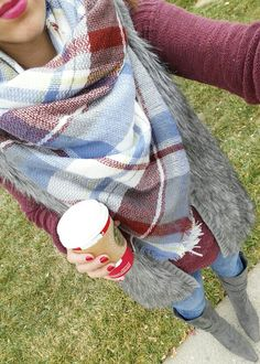 DressingUpClassy - plaid blanket scarf - faux fur vest - burgundy sweater - suede knee high boots - fall fashion @dressingupclassy