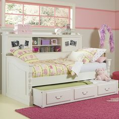 beautiful daybed with bookcase and trundle bed- great space saver!