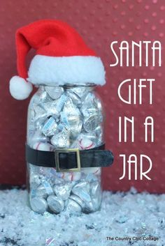 Homemade DIY Gifts in A Jar | Best Mason Jar Cookie Mixes and Recipes, Alcohol Mixers | Fun Gift Ideas for Men, Women, Teens, Kids, Teacher, Mom. Christmas, Holiday, Birthday and Easy Last Minute Gifts | Santa Gift in a Jar |  http://diyjoy.com/diy-gifts-in-a-jar
