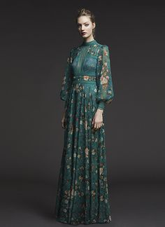 Tadashi Shoji BIRCH LEAF ROSE PRINTED CHIFFON AND LACE GOWN WITH HIGH NECK AND BLOUSON SLEEVES