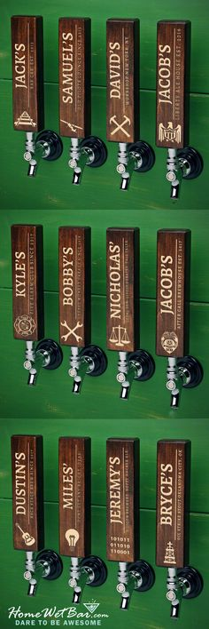 "For some men, work is life. Our exclusive personalized beer tap handle helps honor the family business while your family and friends together inside your home. Handmade from maple hardwood, and sold individually with your choice of professional symbol, our custom tap handles fit all standard sized beer faucets, kegerators, and beer towers. Crafted one by one with expert craftsmanship, these substantial 8"" tall tap handles are then laser etched with your custom name, phrase, and choice of…"
