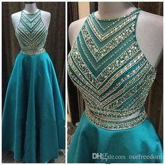 2016 Real Turquoise Two Piece Prom Dresses Exquisite Crystal Floor Length Illusion Top Formal Evening Occasion Dresses Sweet 16 Girls Wear Prom Maxi Dresses Prom Style Dresses From Ourfreedom, $125.73| Dhgate.Com