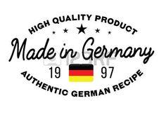 Hecho en Alemania Sello con el texto y la bandera. Un sello de producto, sello de goma de calidad. Signo del producto nacional único.