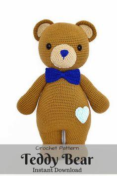 Cute Teddy Bear Crochet Pattern. Instant Download from Etsy. #affilitate #ad #crochet #etsy Crochet Teddy Bear Pattern, Crochet Patterns, Cute Teddy Bears, Crochet For Beginners, Appliques, Fiber Art, Crochet Projects, Crocheting, Needlework