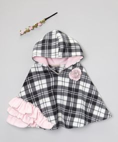 Look at this #zulilyfind! Gray Plaid Poncho & Floral Headband - Infant, Toddler & Girls #zulilyfinds