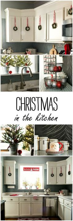 Christmas in the kitchen decorating ideas in red and white and black. Ideas on how to add Christmas to your kitchen decor using wreaths,…