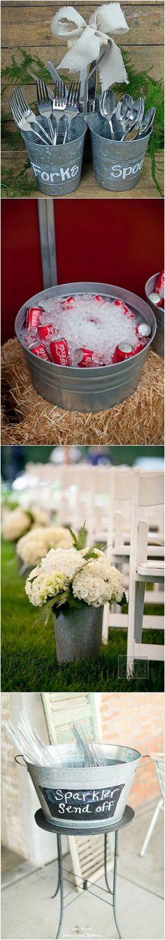 Rustic Buckets Tubs