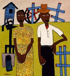 Farm Couple at Well by William H. Johnson Black Art Painting, Figure Painting, William H Johnson, African Artists, Canadian Art, Afro Art, Black Artists, You Draw, Naive Art