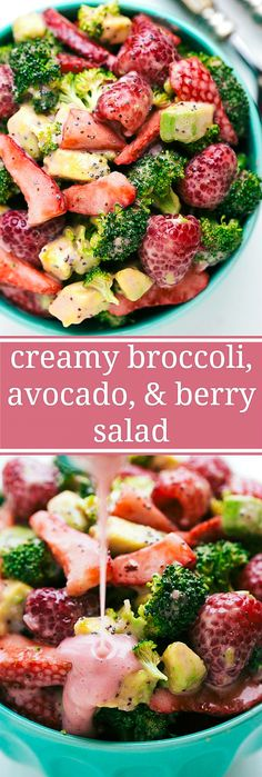 This broccoli salad has a 2-ingredient (NO MAYO) strawberry poppyseed dressing!