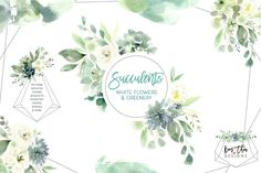 Succulents, White Flowers & Greenery by Kim Thoa Designs on @creativemarket