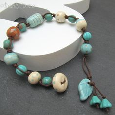 Drifting Daze bracelet ceramic and Czech beads £17.50