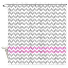 Gray and rose chevrons Shower Curtain on CafePress.com