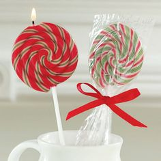 Peppermint Scented Candy Cane Lollipop Candles