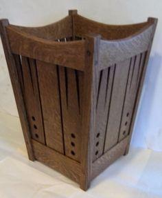 Arts and Crafts Mission Oak Wastebasket Stickley Era Style | eBay