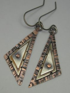 Mixed Metal Riveted Triangle Earrings by AmorphicMetals on Etsy, $27.00