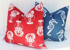 Nautical Pillows Red Lobster Pillow Cover by MariaClaireInteriors