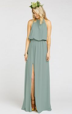Heather Halter Dress ~ Silver Sage Crisp | Show Me Your MuMu