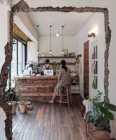 Industrial Home Fireplace industrial restaurant concrete. Design Jobs, Küchen Design, House Design, Cafe Shop Design, Cafe Interior Design, Small Coffee Shop, Cafe Concept, Style Deco, Shop Interiors