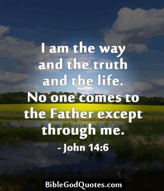 I am the way and the truth and the life. No one comes to the Father except through me. - John 14:6 BibleGodQuotes.com