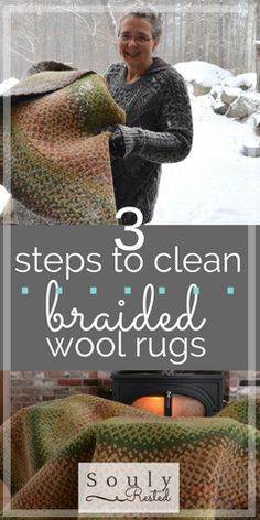 braided wool rugs | cleaning wool rugs | heirloom rugs | using snow to clean a rug | DIY cleaning a rug | SoulyRested.com | souly rested