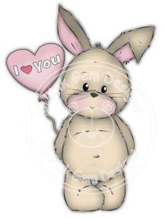 Digital Digi Stamp Some Bunny Loves You por PinkGemDesigns
