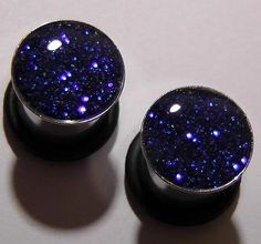 Electric Blue Sparkle plugs gauges embedded resin by GlitzGauge, $15.00
