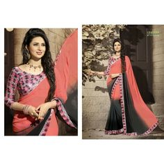 Gorgeous work wear peach and black printed saree