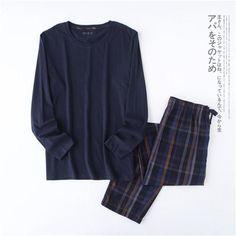 100% cotton simple pajamas sets men Plus Size Autumn long-sleeve Pyjamas daily wear pijama male masculino pijama de hombre  #upcube