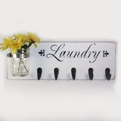 Laundry Sign With Hooks Mail Organizer Mail And Key Holder Key Hookslegacystudio