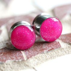 Hot Pink Plugs, Sparkly Ear Plugs, Pink Girly Gauges, Pink Plugs for Girls - sizes 4g, 2g, 0g, 00g, 7/16, 1/2, 9/16, 5/8, 3/4, 7/8, 1""