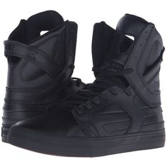 Supra Skytop II (Black/Black/Red) Women's Skate Shoes (€115) ❤ liked on Polyvore featuring shoes, athletic shoes, red boots, skate shoes, real leather boots, red black boots and leather skate shoes