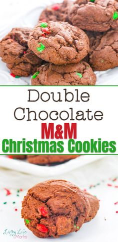 These Double Chocolate M&M Christmas Cookies are so delicious and simple to make! Perfect for Christmas cookies or a great gift idea to share with family and friends! The perfect holiday treat to share with guests. #Christmascookies Easy Holiday Cookies, Cookies For Kids, Fun Cookies, Holiday Treats, Christmas Cookies, Healthy Cookie Recipes, Healthy Cookies, Perfect Cookie, Rice Krispie Treats