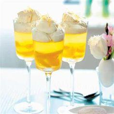 Orange-scented wine jellies with ginger syllabub cream - use Bulletin Place Pinot Grigio