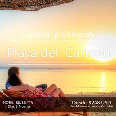 Plan Playa del Carmen. Incluye   + Trasl. Aerop-Hotel -Aerop  + 3 noches 4 días en hotel RIU LUPITA   con todo incluido   + DEPORTES ACUÁTICOS NO MOTORIZADOS  + Tarjeta de asistencia médica hasta los 64 años