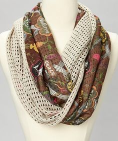 Take a look at this Ivory Open-Knit Floral Infinity Scarf by The Sak on #zulily today! $15 !!