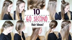 Spring Hairstyles In 5 Minutes Ten 60 Second Heatless Hairstyles 1 Minute Hairstyles Quick Hairstyles Of 95 Amazing Spring Hairstyles In 5 Minutes Running Late Hairstyles, Easy Summer Hairstyles, Super Easy Hairstyles, Easy Hairstyles For School, Cute Girls Hairstyles, 5 Minute Hairstyles, Heatless Hairstyles, Twist Hairstyles, Down Hairstyles