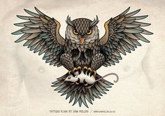old school owl tattoo designs | designed this owl chest piece tattoo for Gerben Geeraerts. Copyright ...