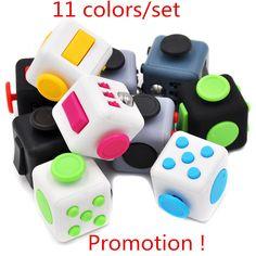 11 Colors/set Promotion ! Big  3*3*3cm Fidget Cube Toys Squeeze Fun Stress Reliever Fidget Toys Puzzle Magic Cube Toys With Box