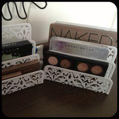 Good idea. Use file holders to organize makeup