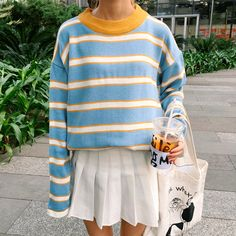 "BLUE YELLOW STRIPES CUTE O NECK SWEATERUse coupon ""ITPIN"" to get 10% OFF entire order - itgirlclothing.com 